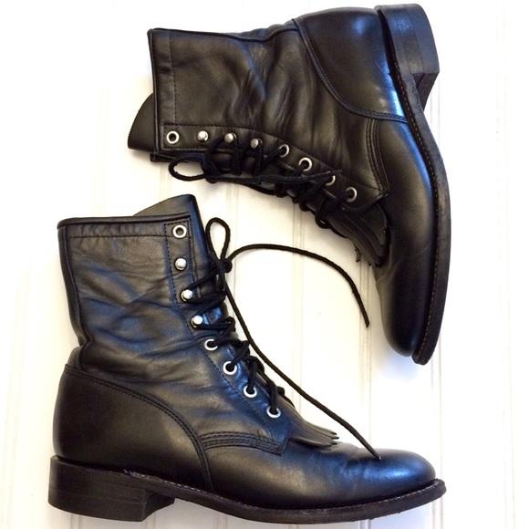 f05eb7e523de Justin Boots Shoes - Vintage Justin 506 Hiram black leather laceup boot